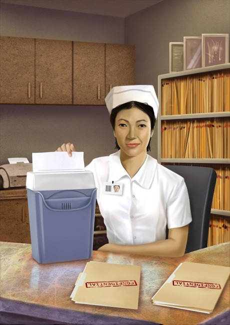Nurse Shredding Papers Hipaa Compliance - Free Stock Photo | AT
