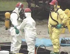 Hoe decontamination is performed on all those involved in a HAZMAT clean-up.