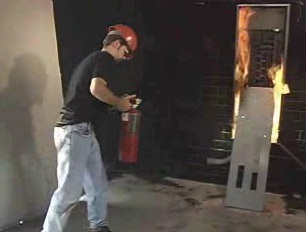 The importance of using a correctly rated fire extinguisher for the fire being fought.