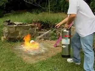 How foam fire extinguishers work and the correct way to use them.