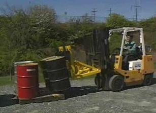 How to properly move hazardous waste containers utilizing special precautions.