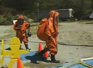 How and why decontamination comes into play when leaving a contaminated area.